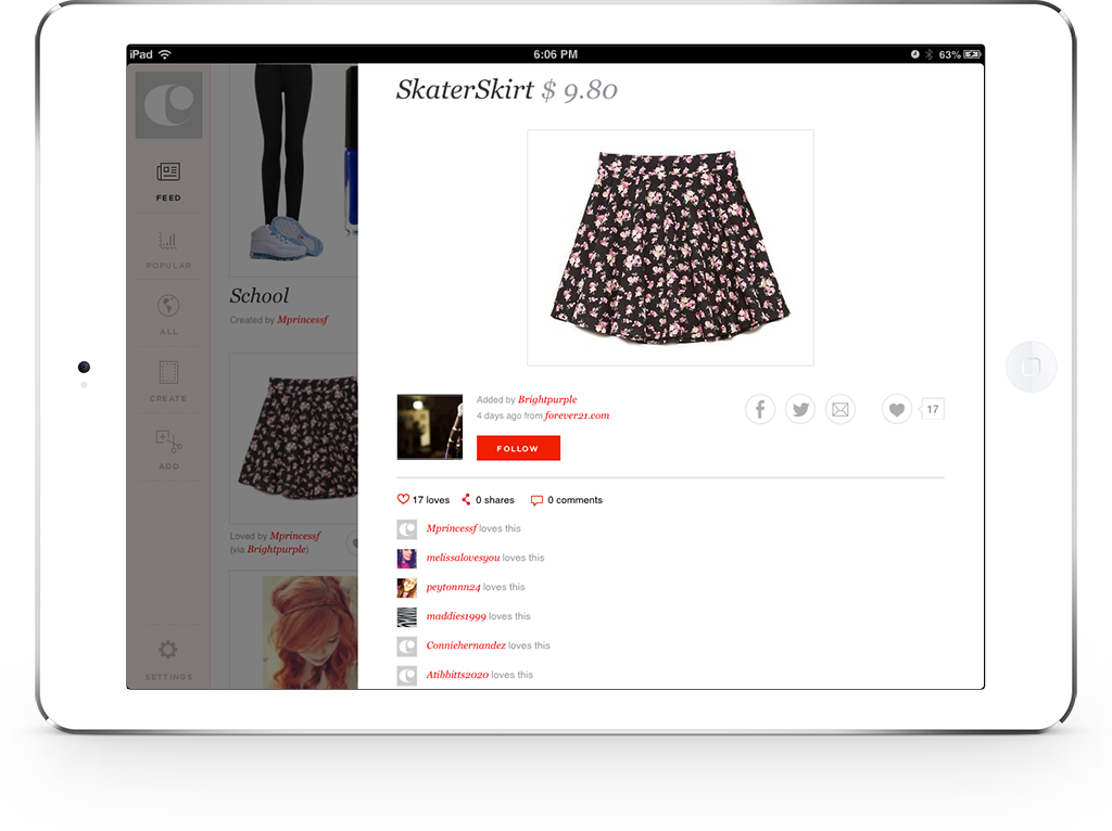 Clothia feed page